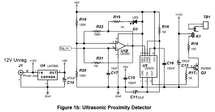 ultrasonic proximity detector circuit schematic diagram