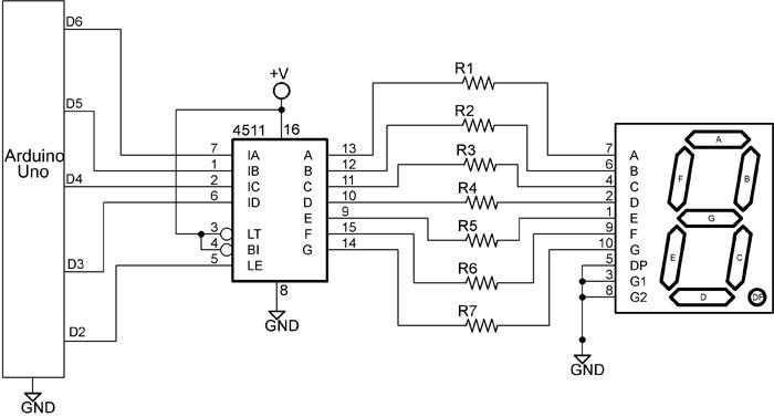 seven segment display pin diagram