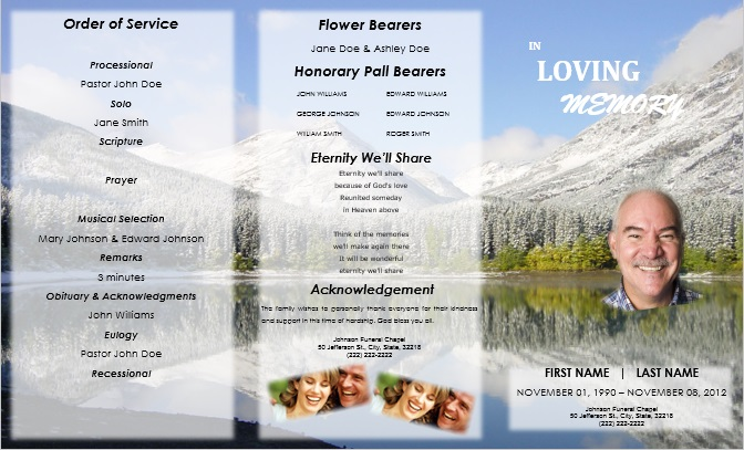 Funeral Service Program Template for Download - James Barber - funeral service template