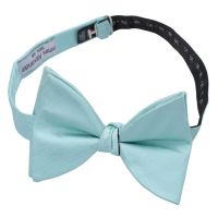 Aqua Herringbone Silk Self Tie Butterfly Bow Tie - James ...