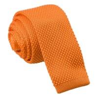 Tangerine Knitted Skinny Tie - James Alexander