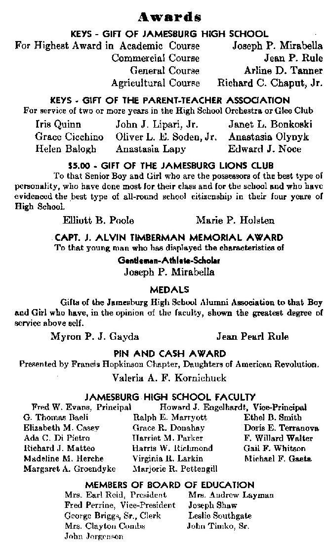 Sample Jamesburg High School Graduation Program (1947)