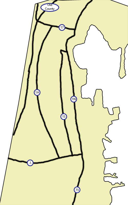 Outline of a tourist map of Rockland, with placement of roads