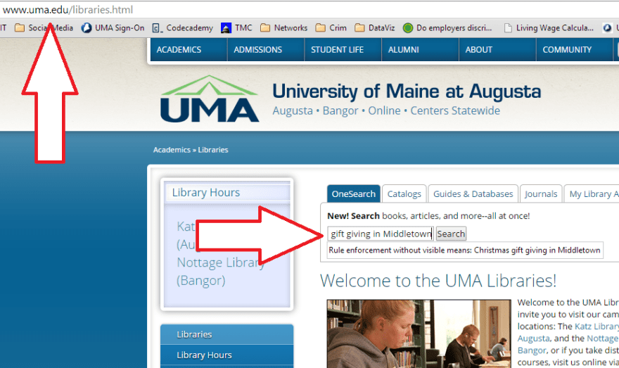 How to Use UMA OneSearch, Step 1