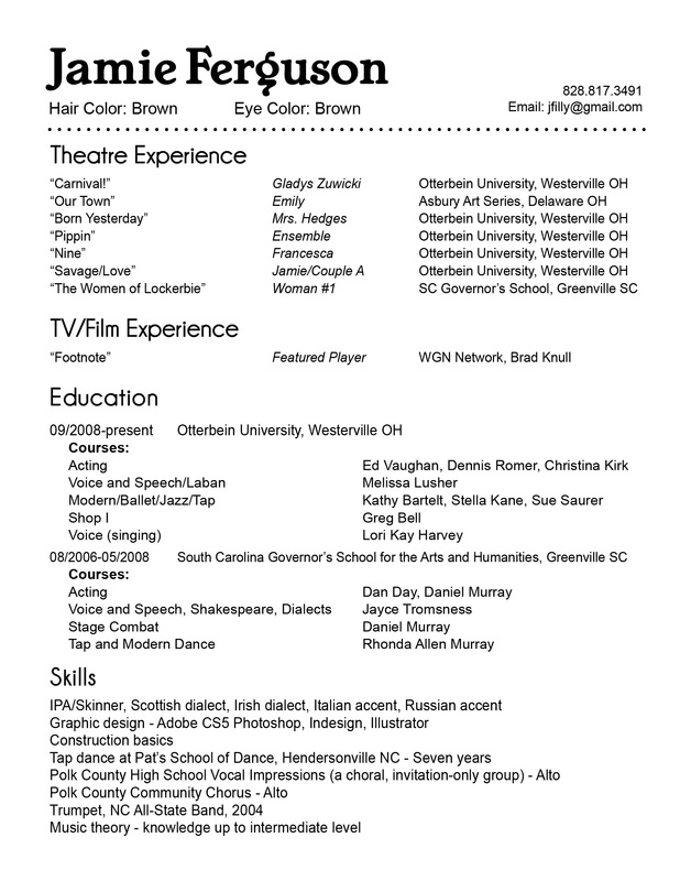 How To Create An Acting Resume - Resume Template Sample - how to create an acting resume
