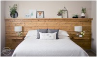| Shiplap Headboard Wall with Floating Nightstand Shelves