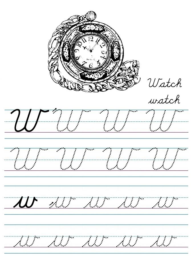 Alphabet Coloring Tracers Cursive W