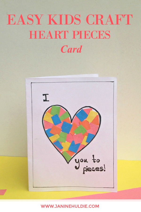 Easy Heart Pieces Kids Craft Card - Confessions of a Mommyaholic