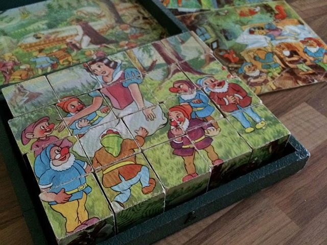 Helping Dad move …. finding childhood toys …. this Snow White block jigsaw was a favourite of ours