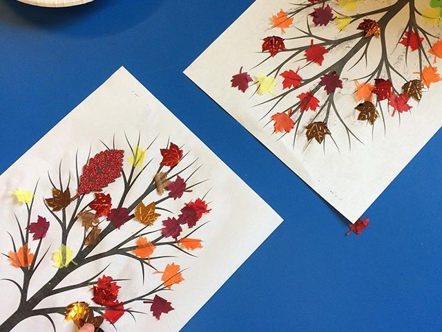 We used autumn leaf confetti as part of Toddler craft today