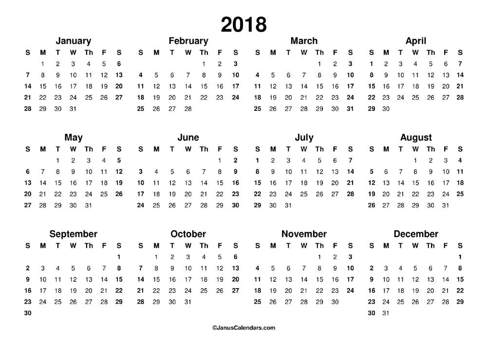 Printable 2018 Calendar - JanusCalendars