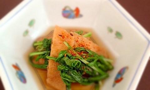 Nibitashi de mizuna et tofu frit 水菜と油揚げの煮びたし