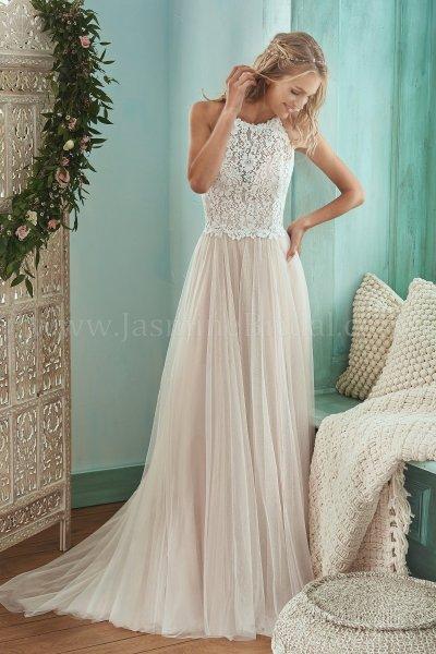 F201006 Halter Neckline Lace & English Net Wedding Dress