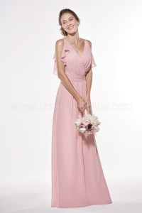 P196001 Long V-neck Georgette Bridesmaid Dress