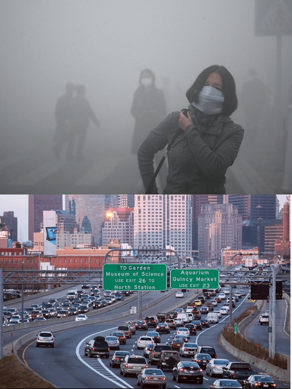 Top: PM pollution is very easy to see. It's what people wrongly associate with as all air pollution. Bottom: Traffic pollution in Boston is pretty much invisible, because you cannot see NO2 pollution.