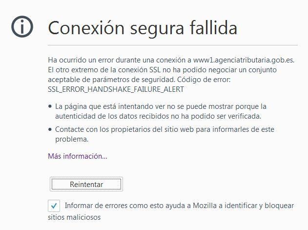 Error SSL en Firefox al realizar la declaración de la renta
