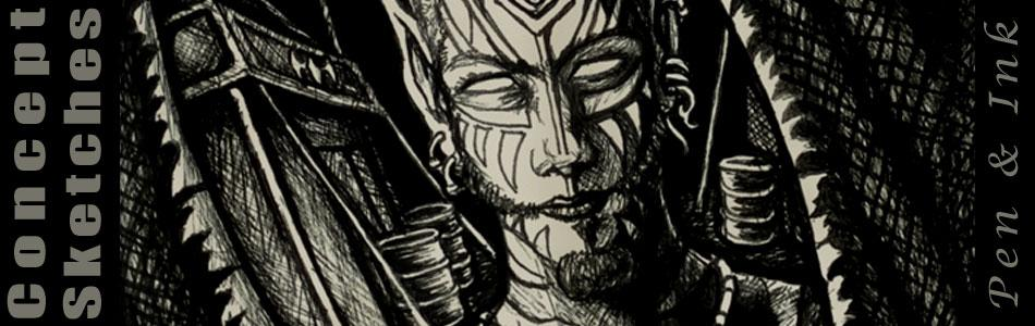 concept sketches - pen and ink - night raid - banner - by Jayel Draco