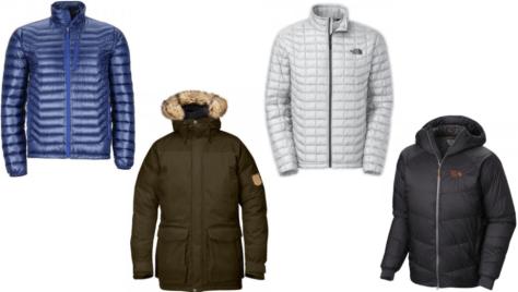 From L to R: Marmot - Quasar Jacket, Fjallraven - Kyl Parka, The North Face - Thermoball Full Zip Jacket, Mountain Hardwear - Nilas Jacket.