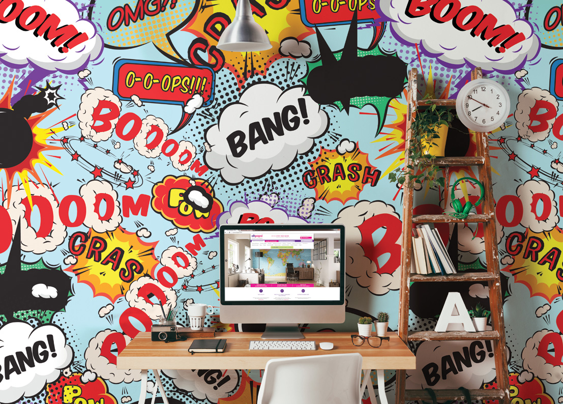 3d Wallpaper For Kitchen Comic Explosion Pop Art Style Writing Wall Mural