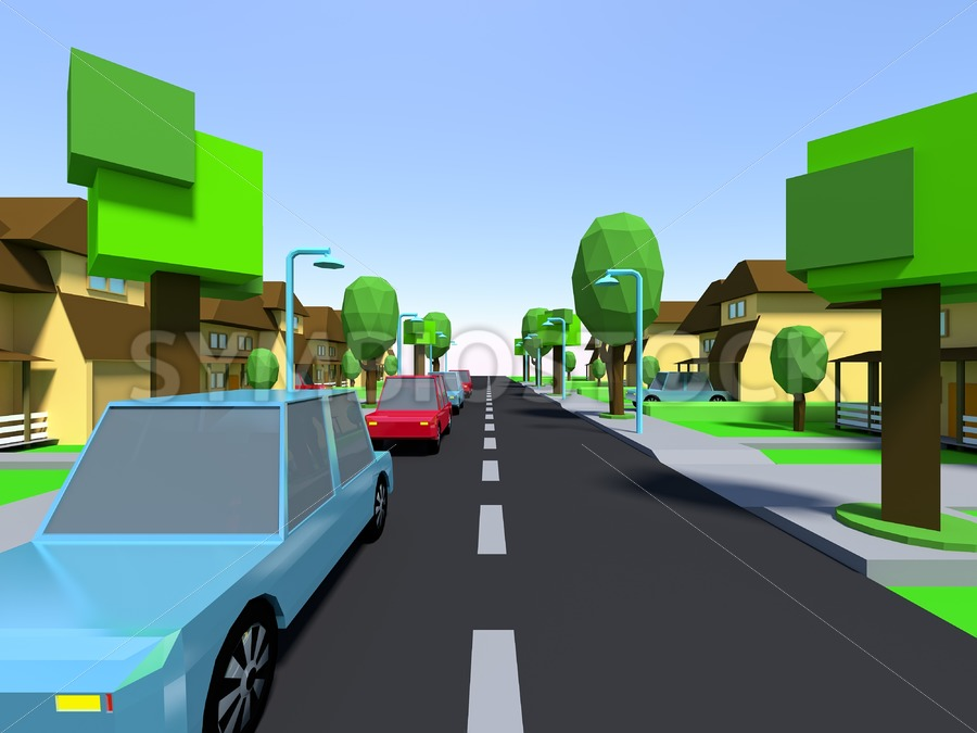 Cars driving Suburban streets - Jan Brons Stock Images