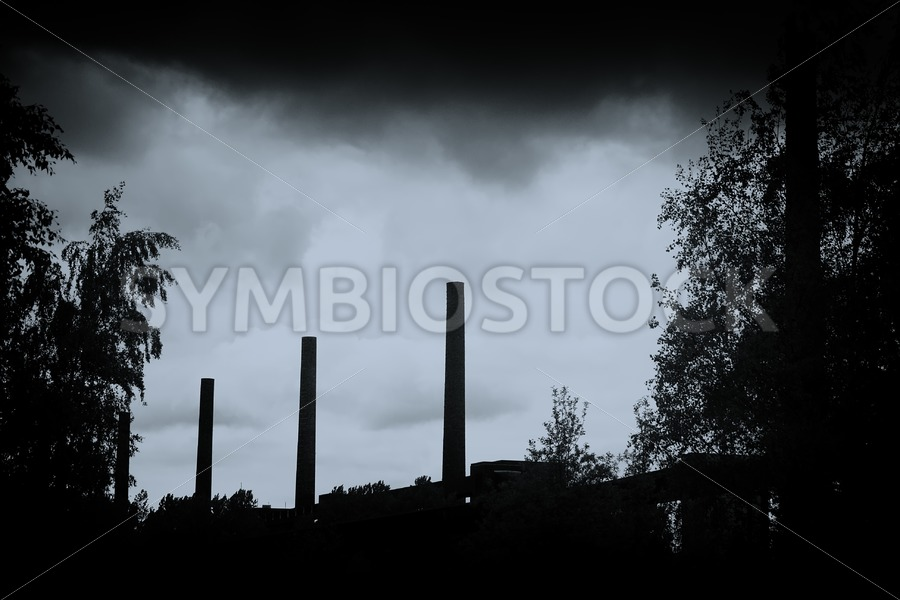 Chimneys and nature - Jan Brons Stock Images