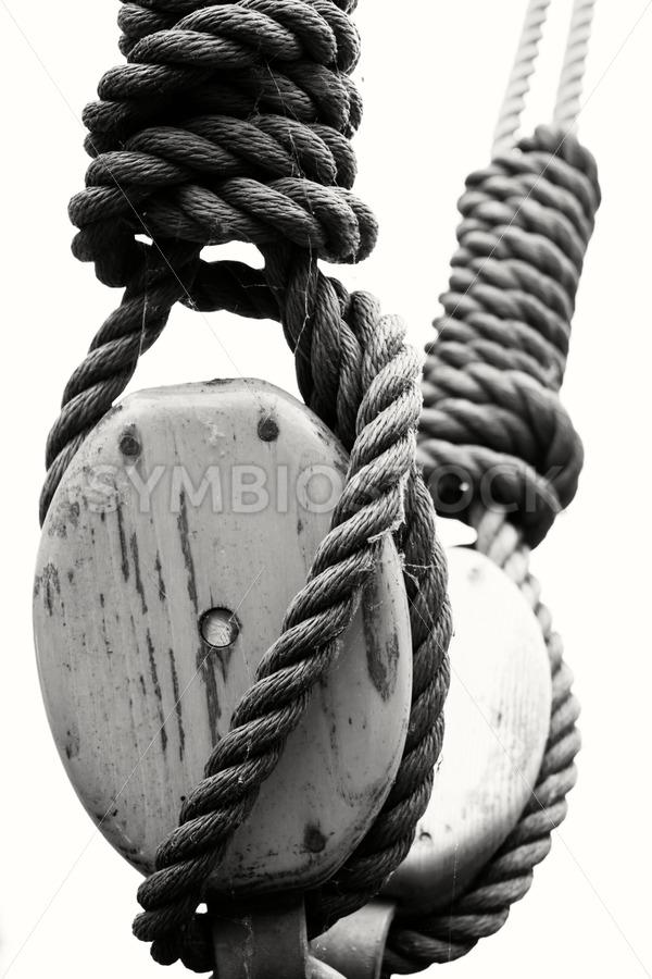 Old sailing ship's block and tackle - Jan Brons Stock Images