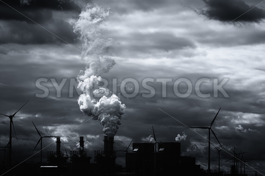 Grim black white energy landscape - Jan Brons Stock Images