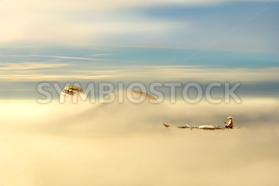 Rowing through clouds - Jan Brons Stock Images