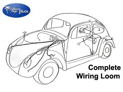 VW Complete Wiring Kit, Beetle Sedan 1972-19735 VW Parts JBugs