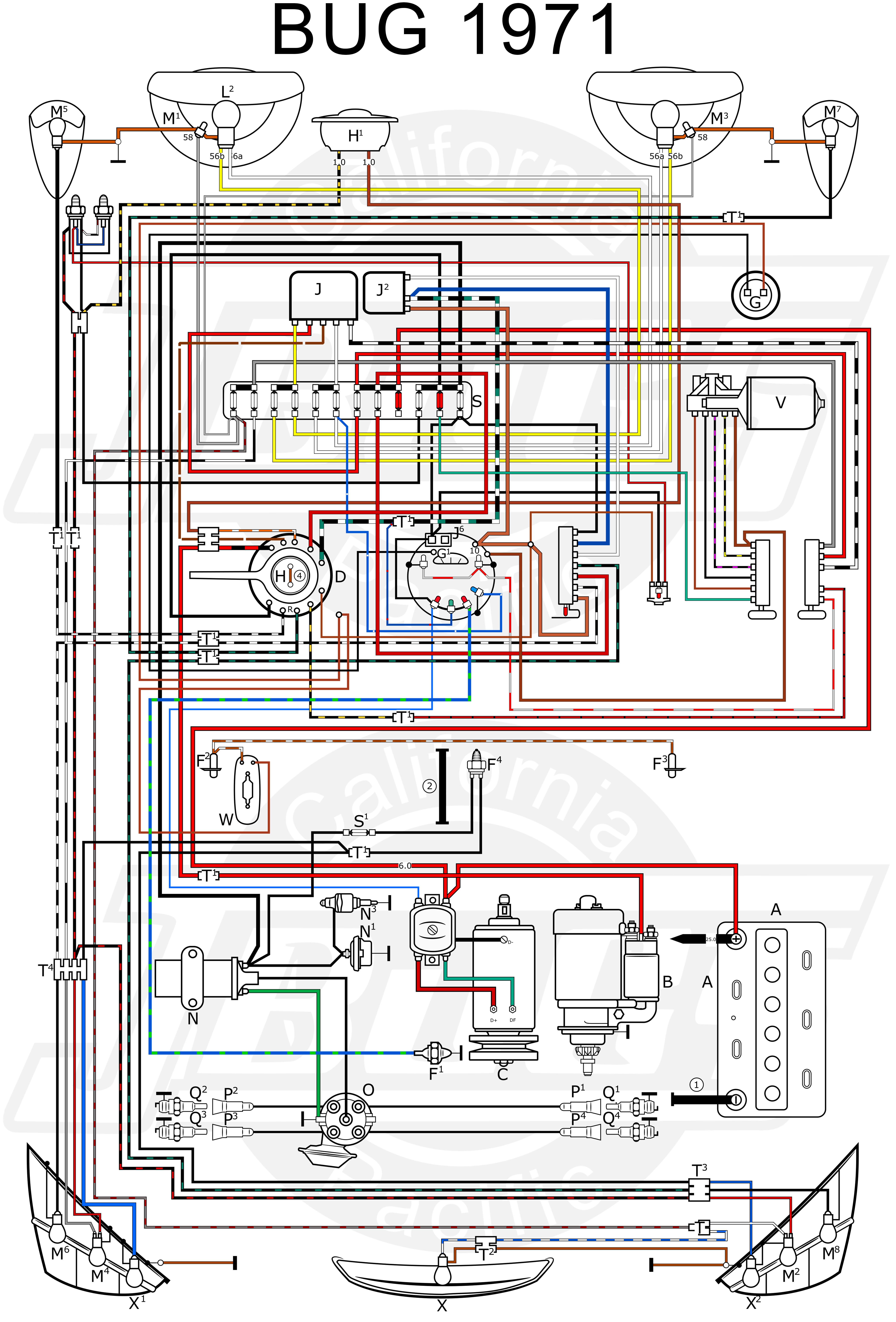 vw beetle wiring diagram image wiring vw beetle wiring diagram 1971 vw auto wiring diagram schematic on 1971 vw beetle wiring diagram