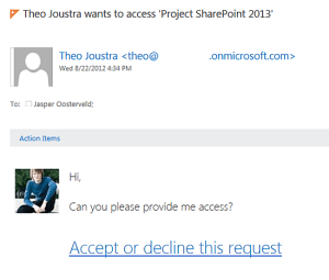 Site Access Requests. Jasper Oosterveld https://www.nothingbutsharepoint.com/sites/eusp/Pages/SharePoint-Online-2013-Request-Access-Procedure.aspx