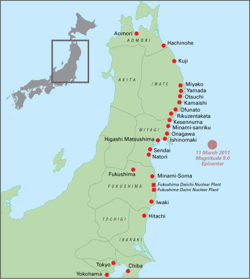 Maps Of The Affected Area JCIE Disaster Response Initiative - Japan 2011 map