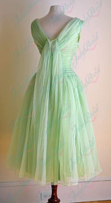 JM11018 vintage tea length pink prom party dress