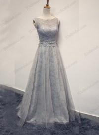 PD16020 Sexy illusion lace back bateau neck grey prom dress
