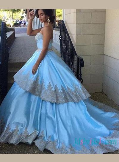 Wedding Dresses With Blue Trim