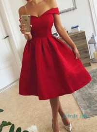PD18009 Lovely off shoulder short red prom party dresses ...