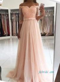 PD18055 Graceful Pink blush half sleeved off shoulder prom ...