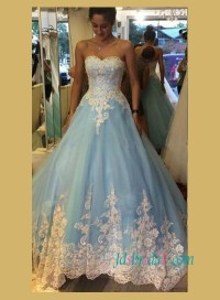 Blue colored wedding dress,pastel blue lace tulle wedding ...