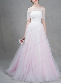 IS037 Beautiful white and blush pink two tones tulle ball ...