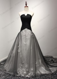 JW16201 Unique notch neckline black and white ball gown ...