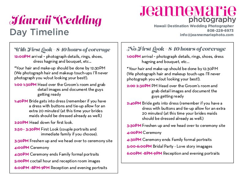 Hawaii Wedding Photography Timeline Advice - wedding timeline