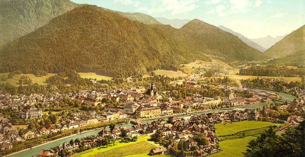 Une vue d'ensemble de Bad Ischl en 1864