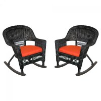 Black Rocker Wicker Chair with Red Cushion - Set of 2
