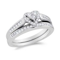 Alluring Heart Ring Halo Cheap Diamond Wedding Ring Set 1 ...