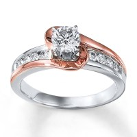1 Carat Unique Round Two Tone White and Rose Gold ...