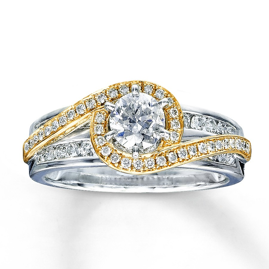 designer white and yellow gold round diamond engagemen wedding ring yellow gold wedding rings Designer White and Yellow Gold Round Diamond Engagemen Wedding Ring