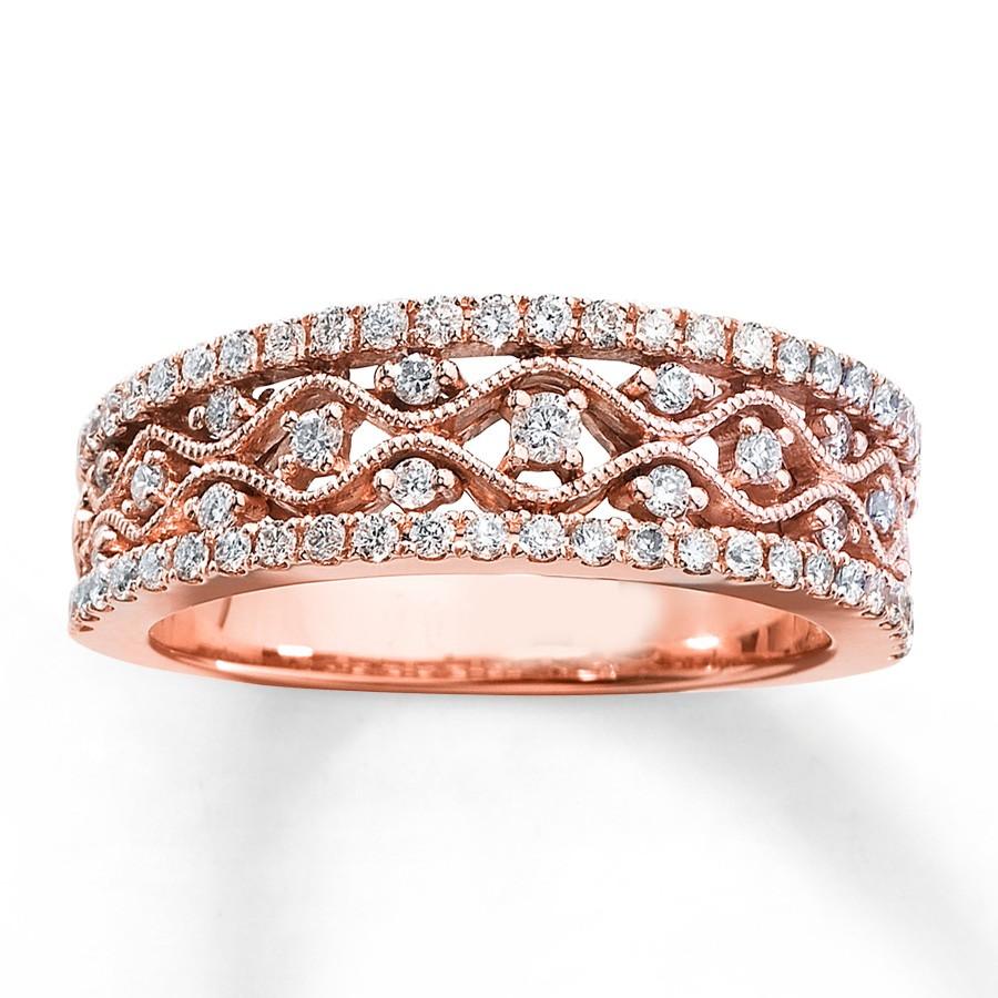 76 rose gold engagement rings orderby price&orderway desc rose gold wedding rings Antique Round Diamond Wedding Ring Band in Rose Gold