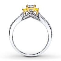 1 Carat Trilogy Princess White and Yellow Diamond ...