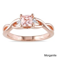 1/2 Carat Morganite and Diamond Engagement Ring in Rose ...
