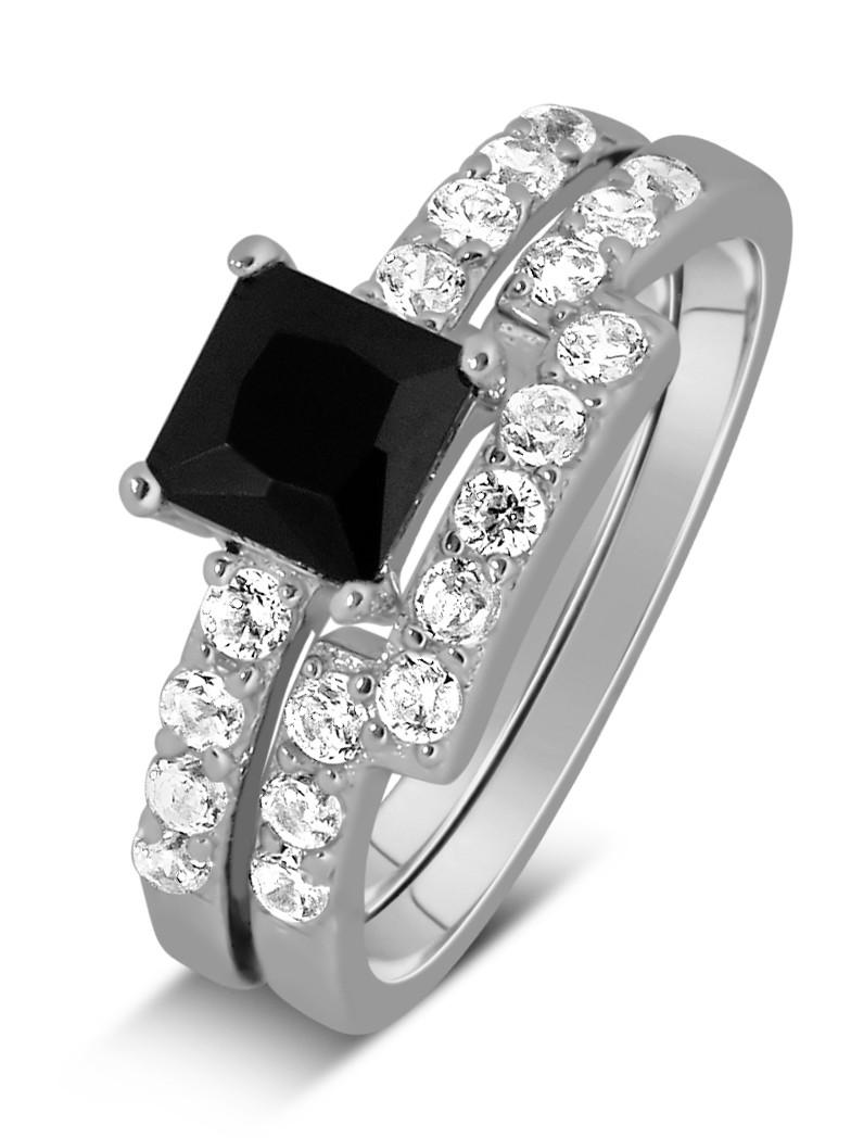 black diamond wedding rings sets luxurious 1 50 carat princess cut download - Black Wedding Ring Set